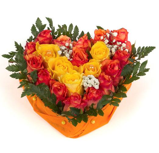 Compositions duo orange et jaune livraison de bouquets for Bouquet de fleurs orange et jaune