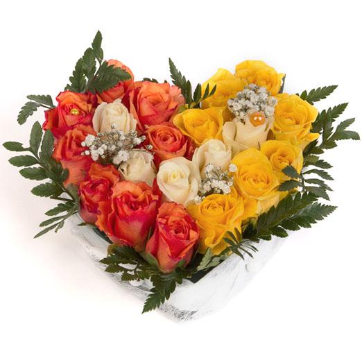 Compositions coeur trio orange jaune blanc livraison for Bouquet de fleurs orange et jaune
